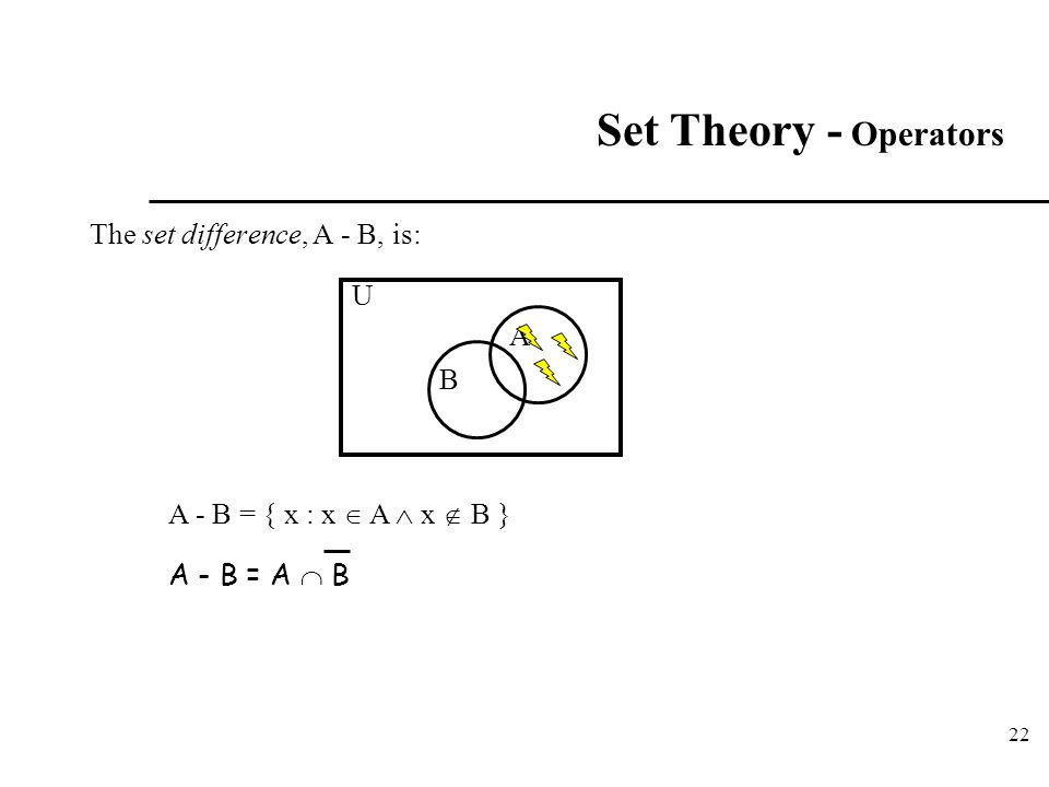 Set Theory - Operators The set difference, A - B, is: U A B