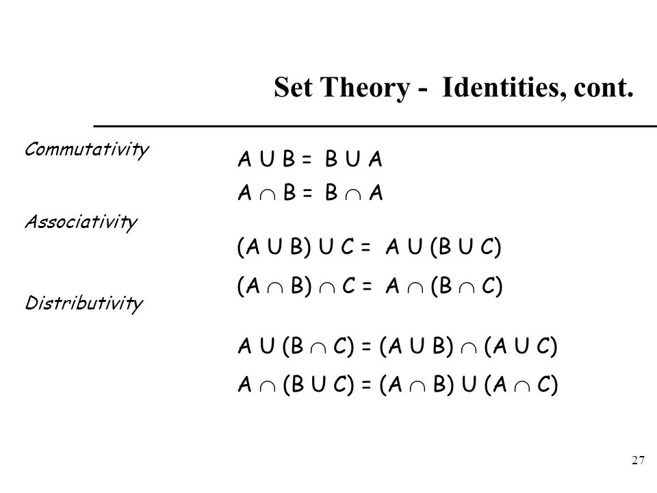 Set Theory - Identities, cont.