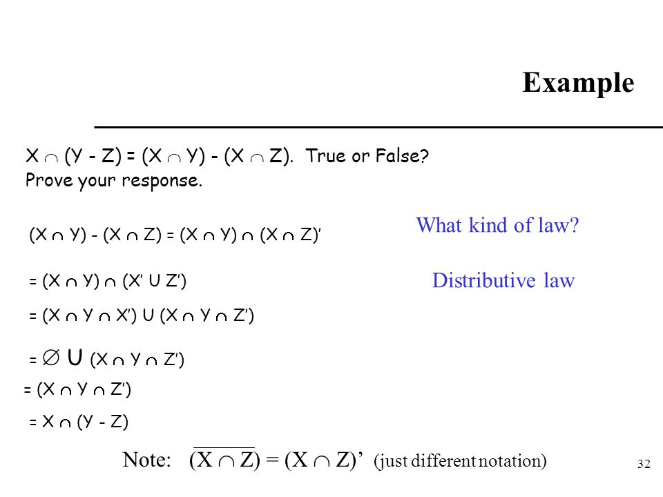 Example What kind of law Distributive law