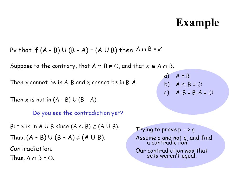 Example Pv that if (A - B) U (B - A) = (A U B) then ______
