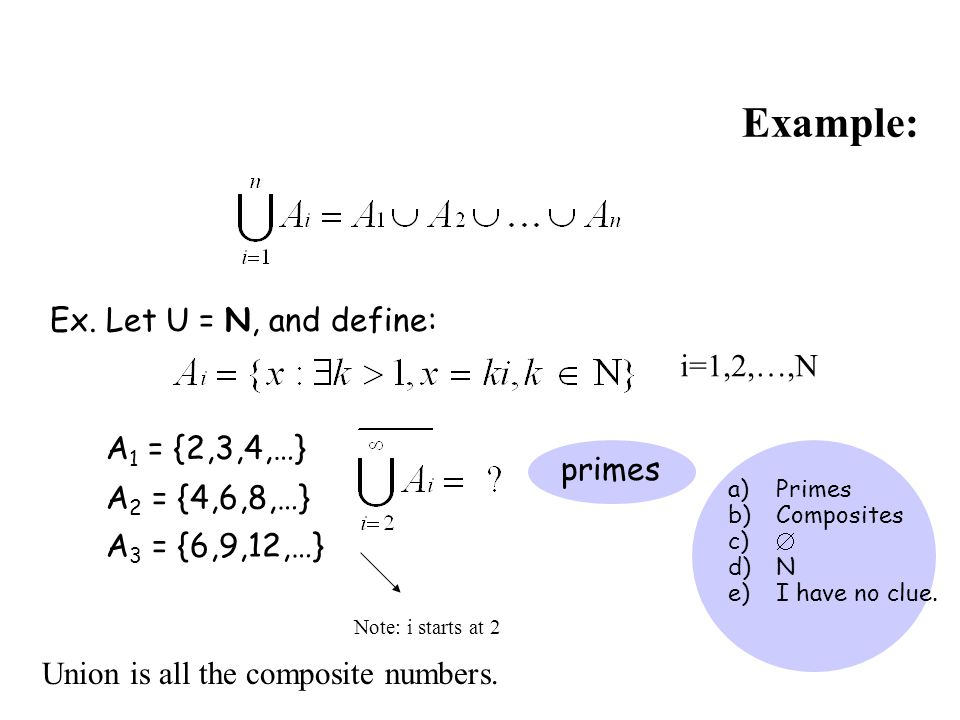 Example: Ex. Let U = N, and define: i=1,2,…,N A1 = {2,3,4,…} primes