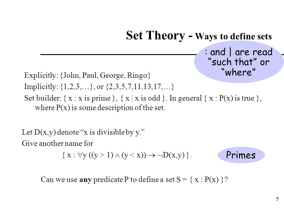 Set Theory - Ways to define sets