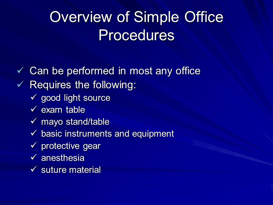 Overview of Simple Office Procedures