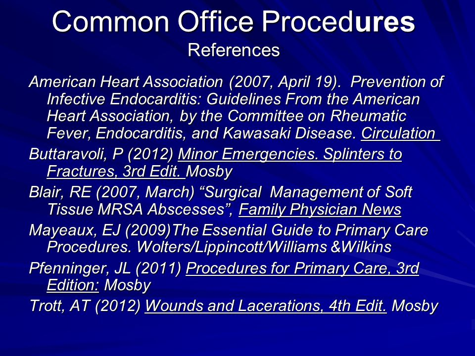 Common Office Procedures References