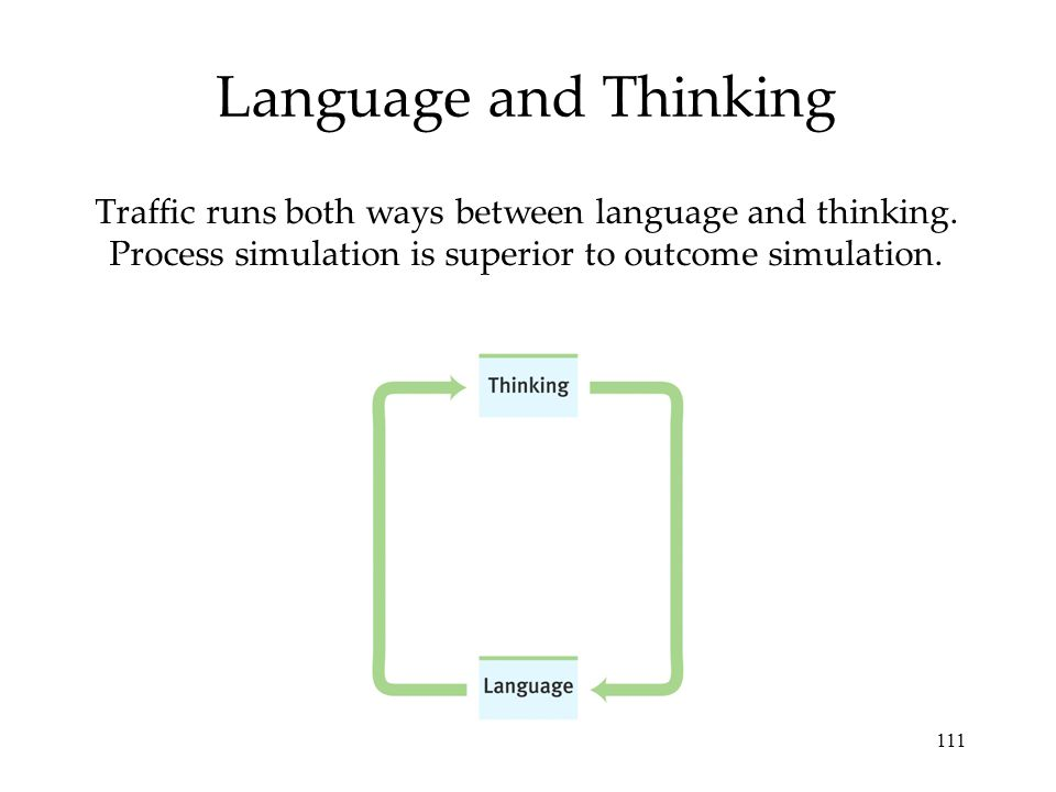 Language and Thinking Traffic runs both ways between language and thinking.