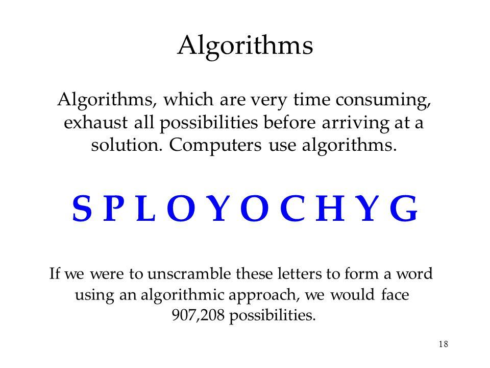 S P L O Y O C H Y G Algorithms