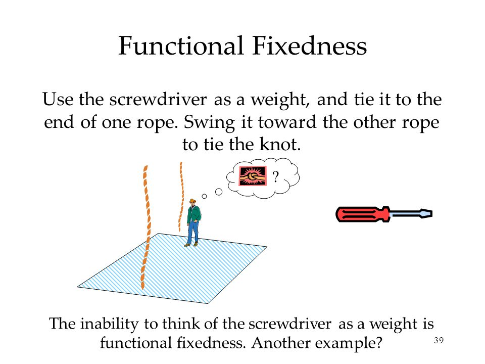 Functional Fixedness Use the screwdriver as a weight, and tie it to the end of one rope. Swing it toward the other rope to tie the knot.