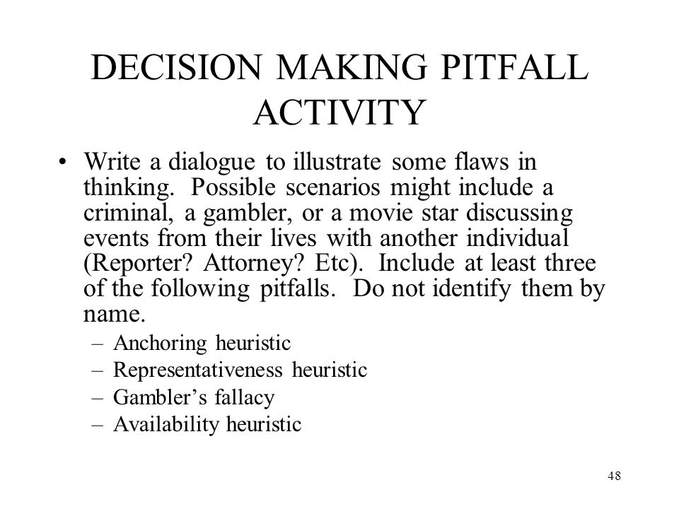 DECISION MAKING PITFALL ACTIVITY