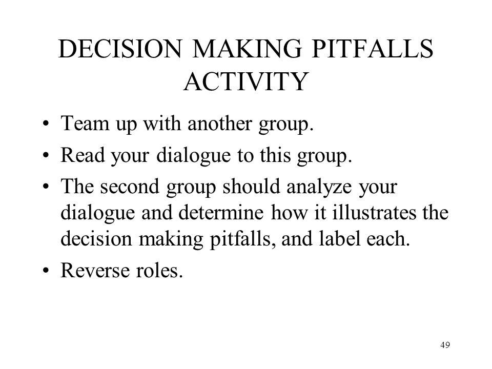 DECISION MAKING PITFALLS ACTIVITY