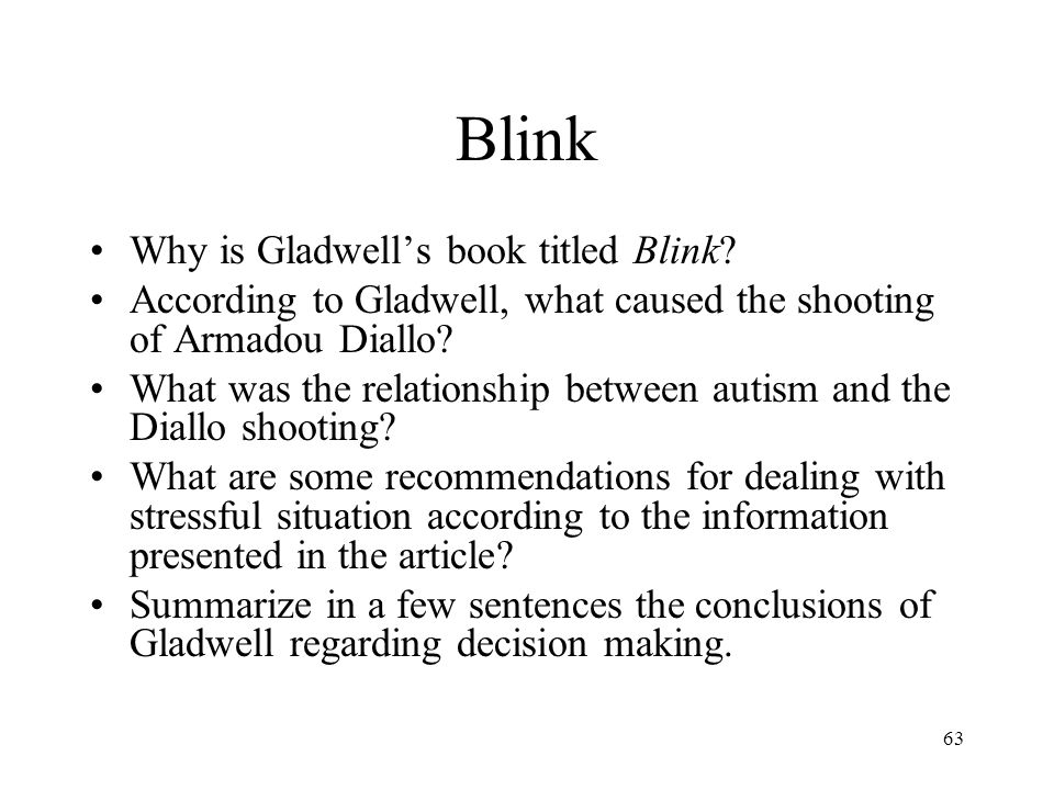 Blink Why is Gladwell's book titled Blink