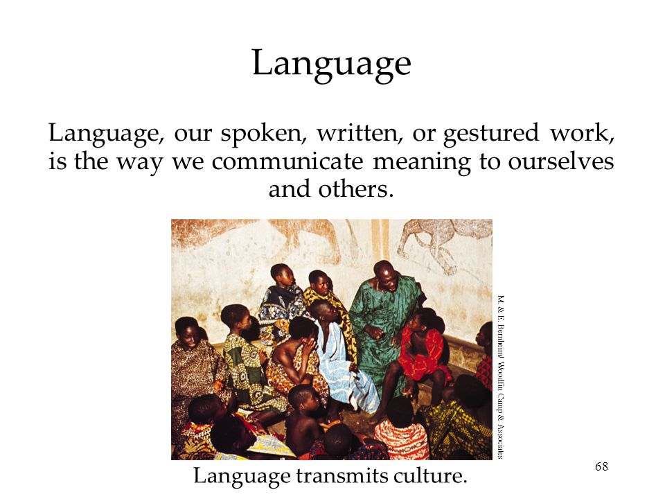 Language Language, our spoken, written, or gestured work, is the way we communicate meaning to ourselves and others.
