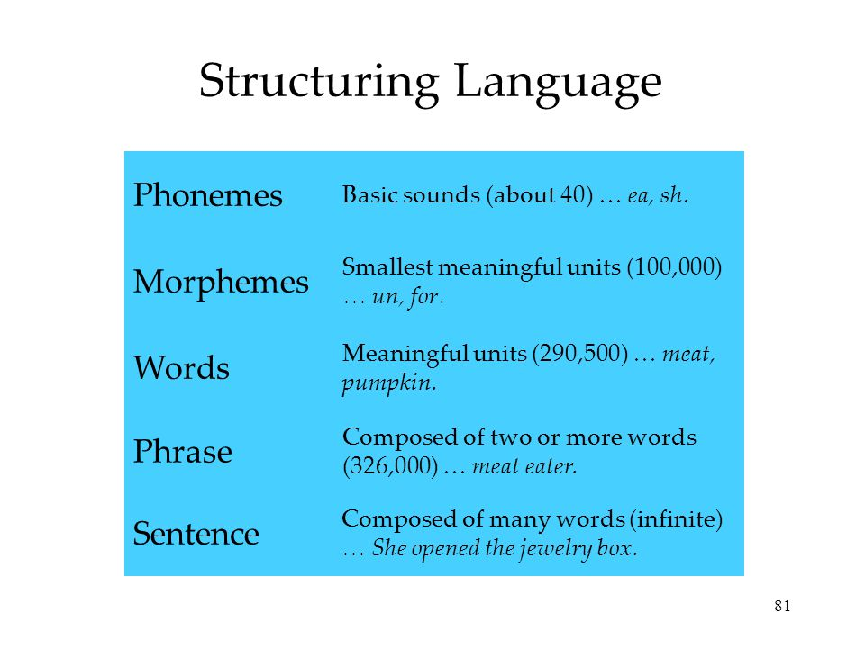Structuring Language Phonemes Morphemes Words Phrase Sentence