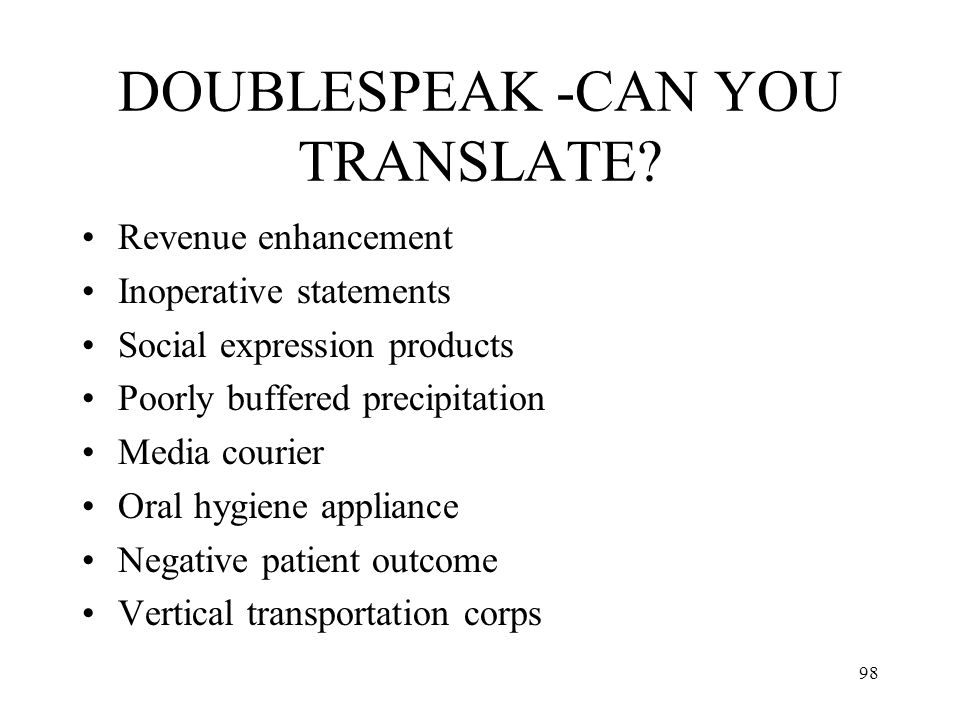 DOUBLESPEAK -CAN YOU TRANSLATE