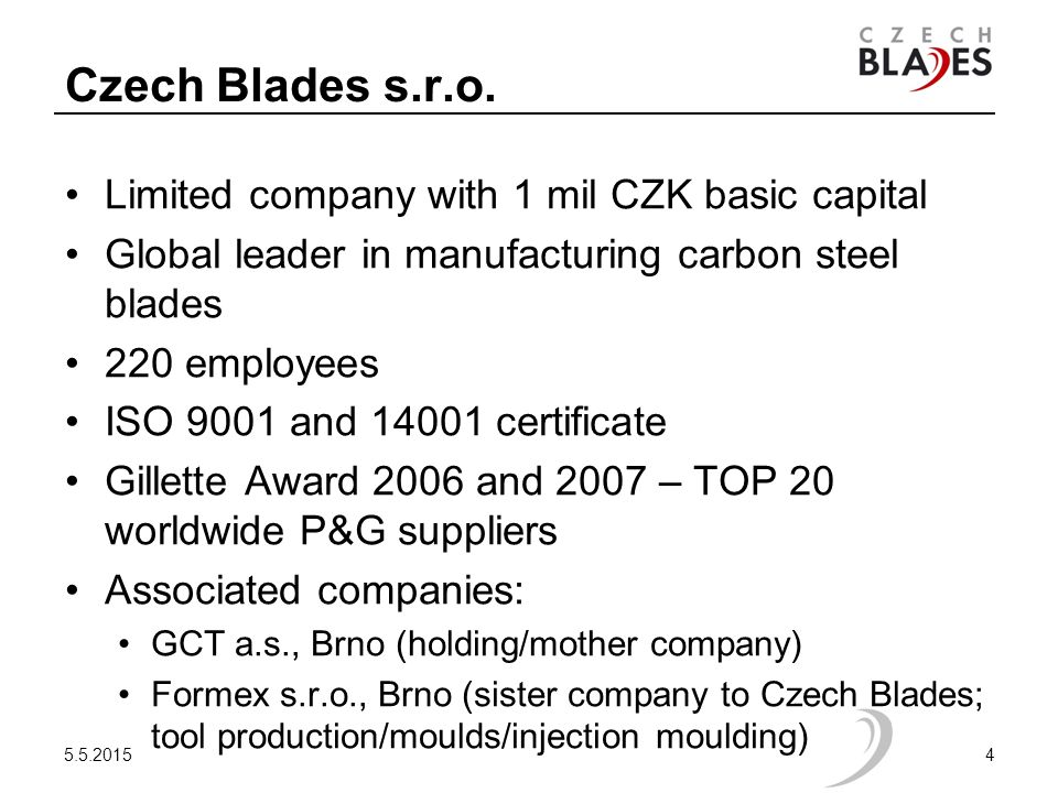 Czech Blades s.r.o. Limited company with 1 mil CZK basic capital