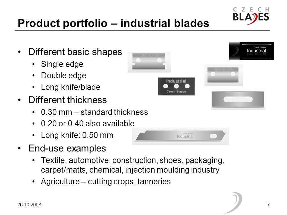 Product portfolio – industrial blades