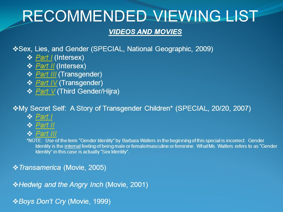 RECOMMENDED VIEWING LIST