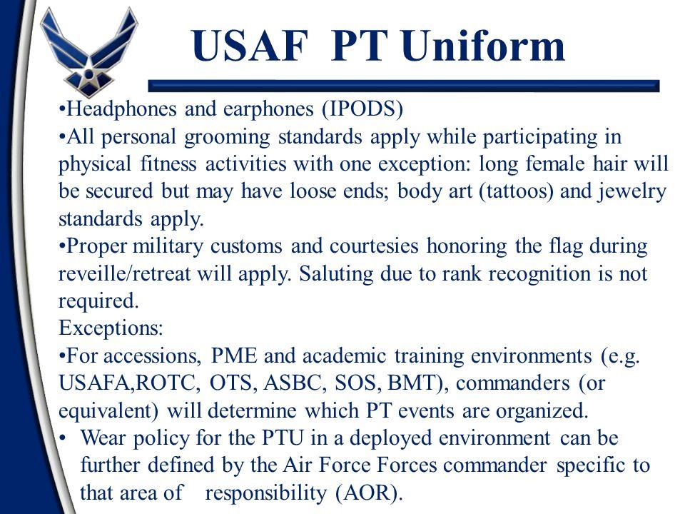 USAF PT Uniform . Headphones and earphones (IPODS)