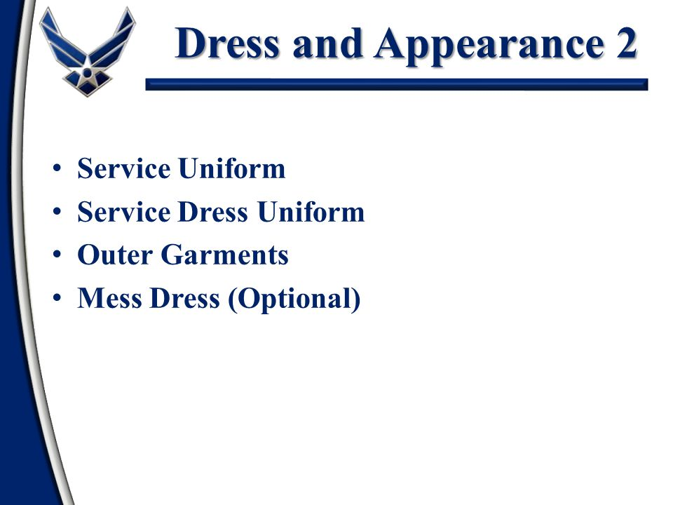 Dress and Appearance 2 Service Uniform Service Dress Uniform