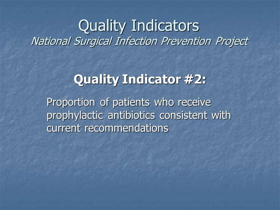 Quality Indicators National Surgical Infection Prevention Project