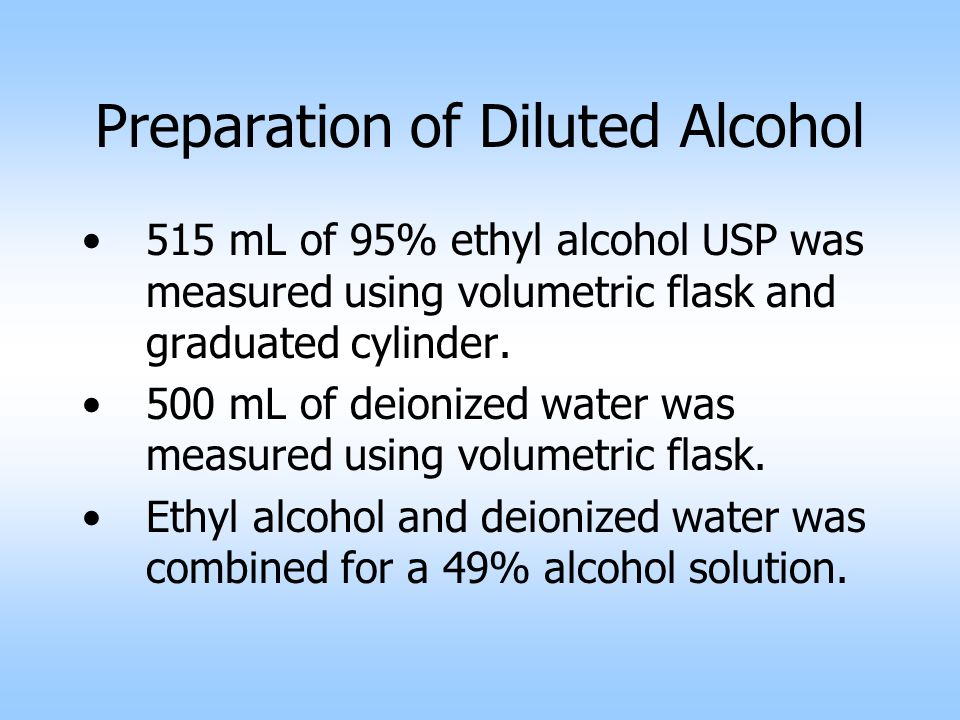 Preparation of Diluted Alcohol