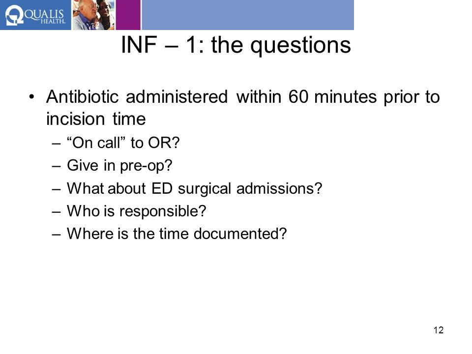 INF – 1: the questions Antibiotic administered within 60 minutes prior to incision time. On call to OR