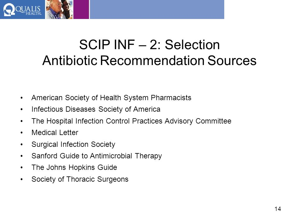 SCIP INF – 2: Selection Antibiotic Recommendation Sources