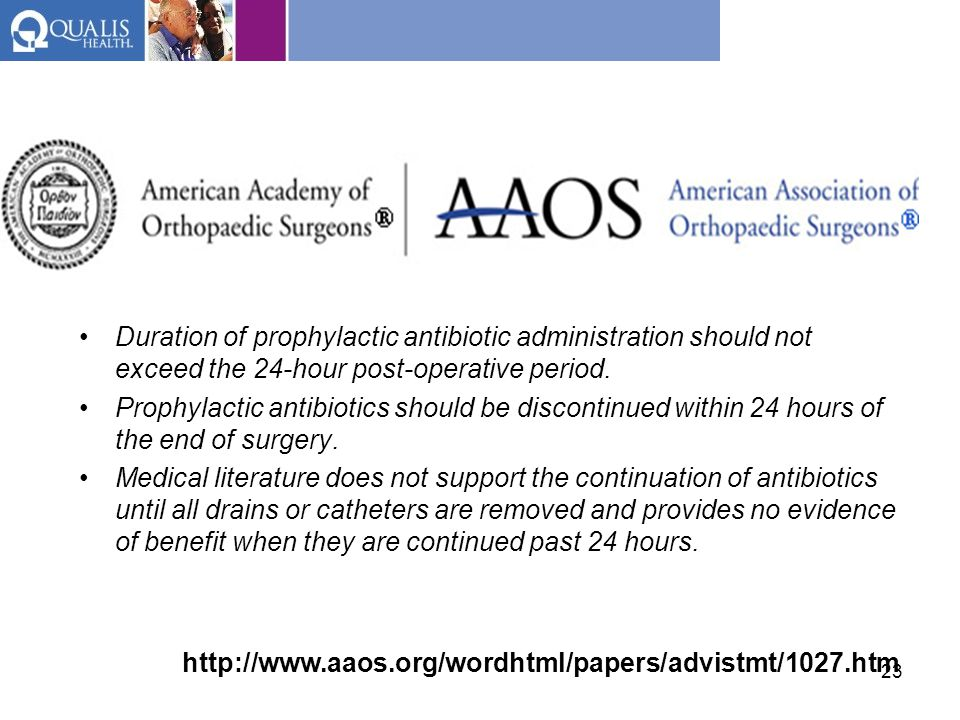 Duration of prophylactic antibiotic administration should not exceed the 24-hour post-operative period.