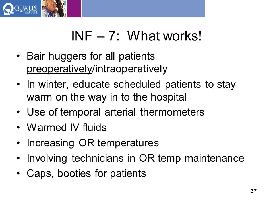 INF – 7: What works! Bair huggers for all patients preoperatively/intraoperatively.