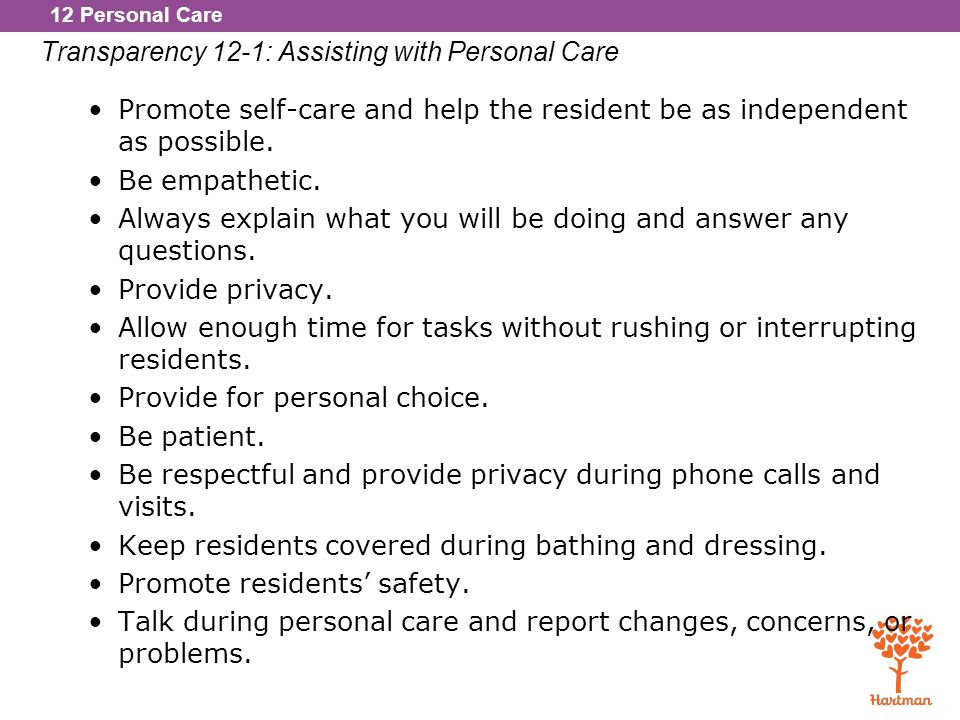 Transparency 12-1: Assisting with Personal Care