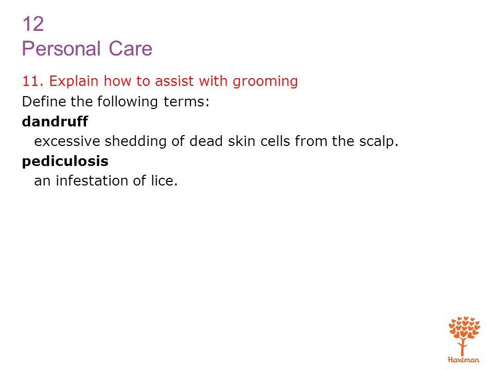 11. Explain how to assist with grooming