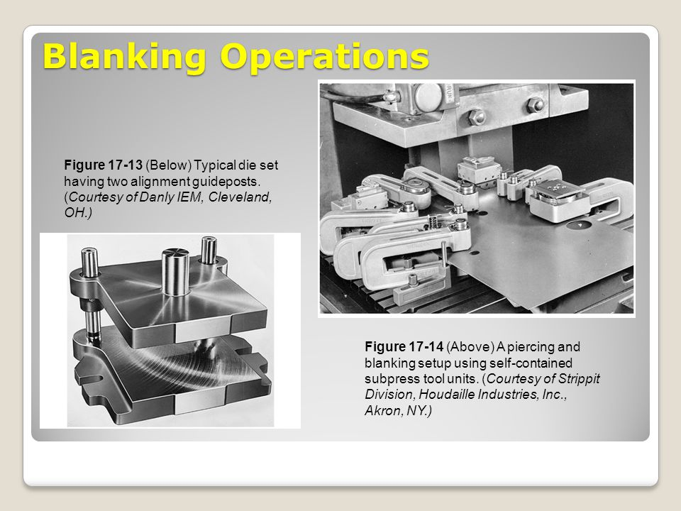 Blanking Operations Figure 17-13 (Below) Typical die set having two alignment guideposts. (Courtesy of Danly IEM, Cleveland, OH.)