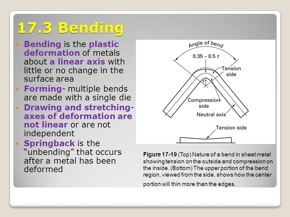 17.3 Bending Bending is the plastic deformation of metals about a linear axis with little or no change in the surface area.