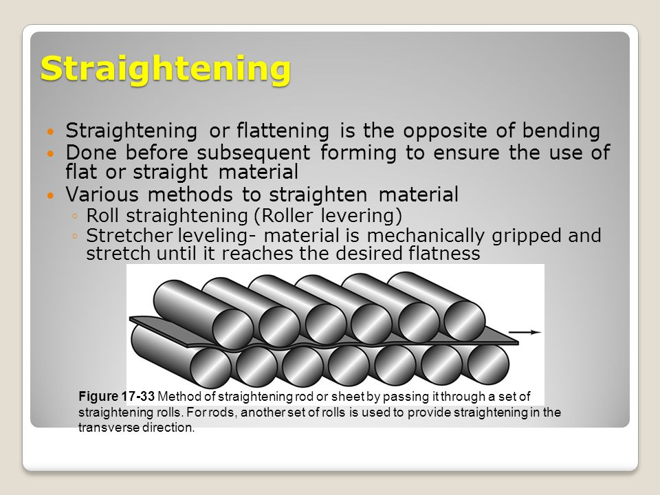 Straightening Straightening or flattening is the opposite of bending