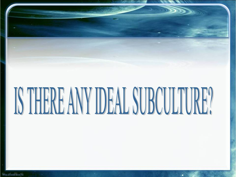 IS THERE ANY IDEAL SUBCULTURE