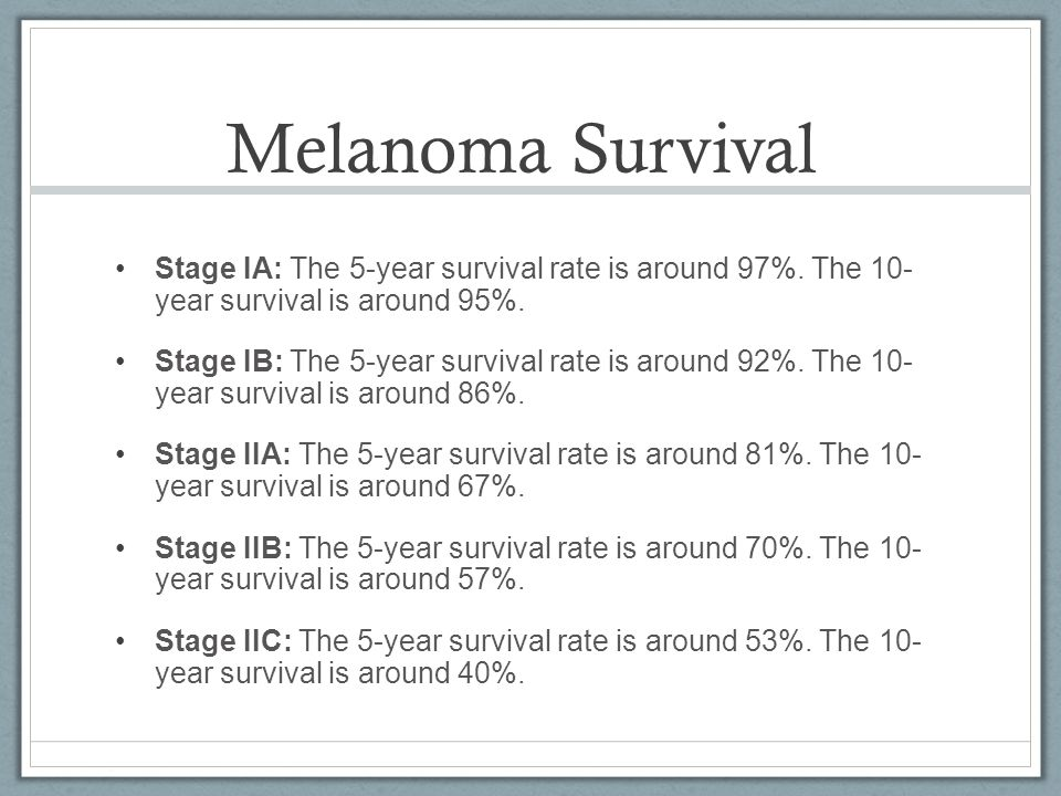 Melanoma Survival Stage IA: The 5-year survival rate is around 97%. The 10- year survival is around 95%.