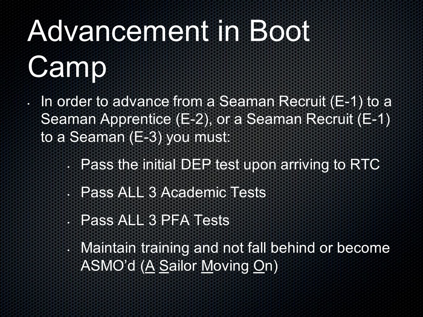 Advancement in Boot Camp