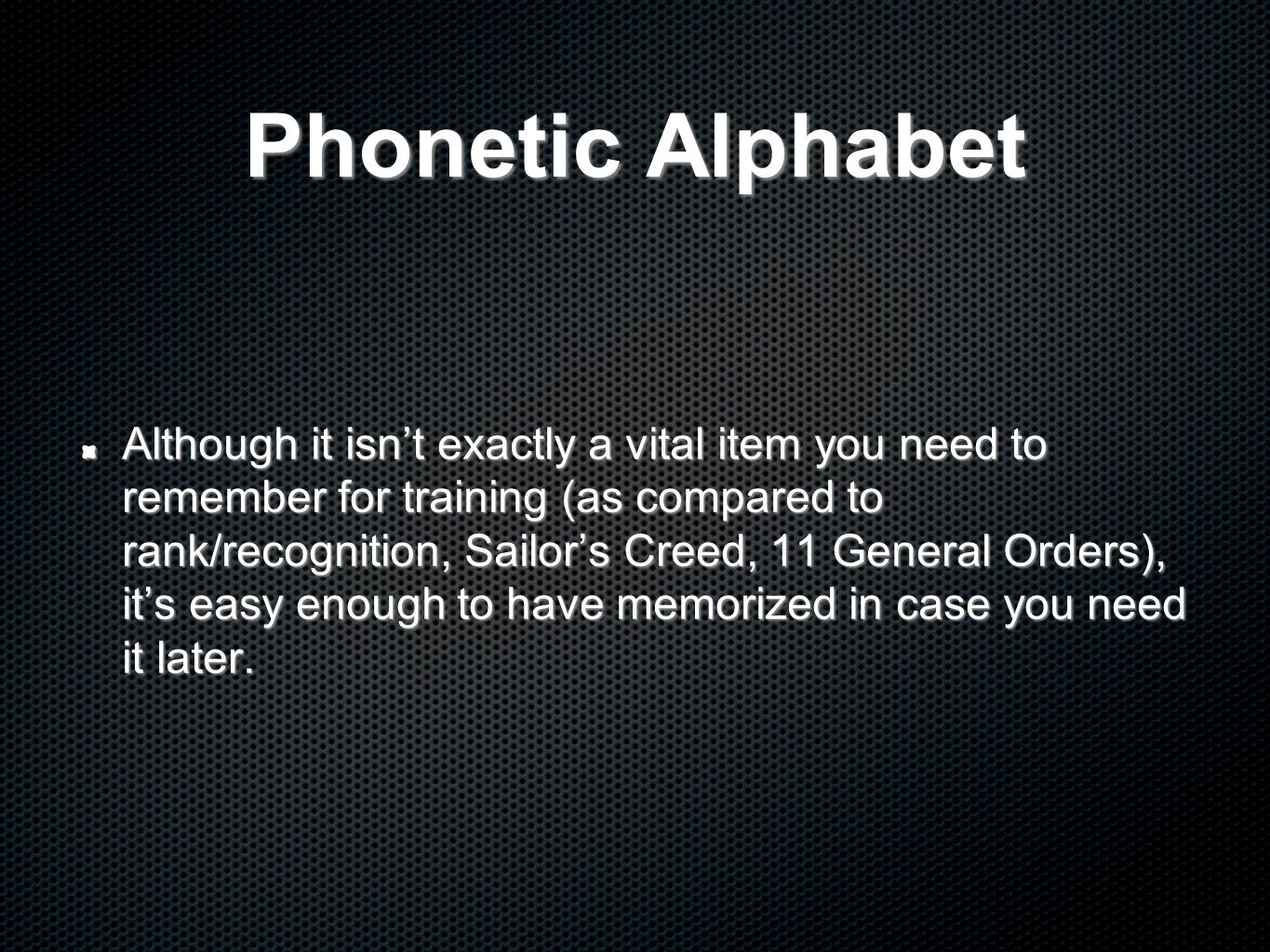 Phonetic Alphabet