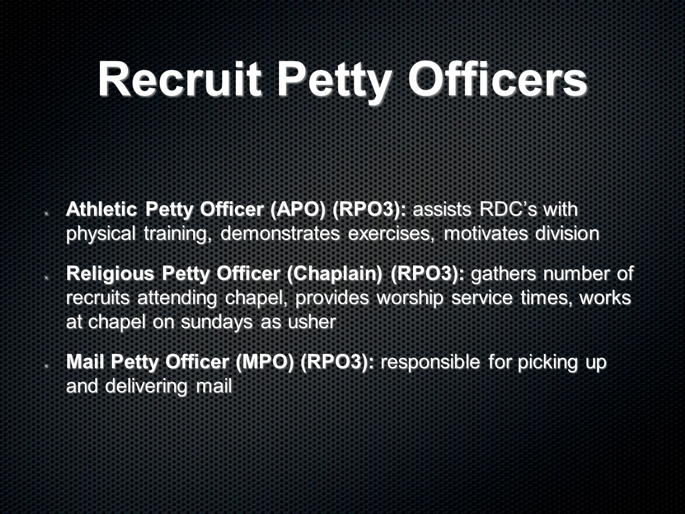 Recruit Petty Officers