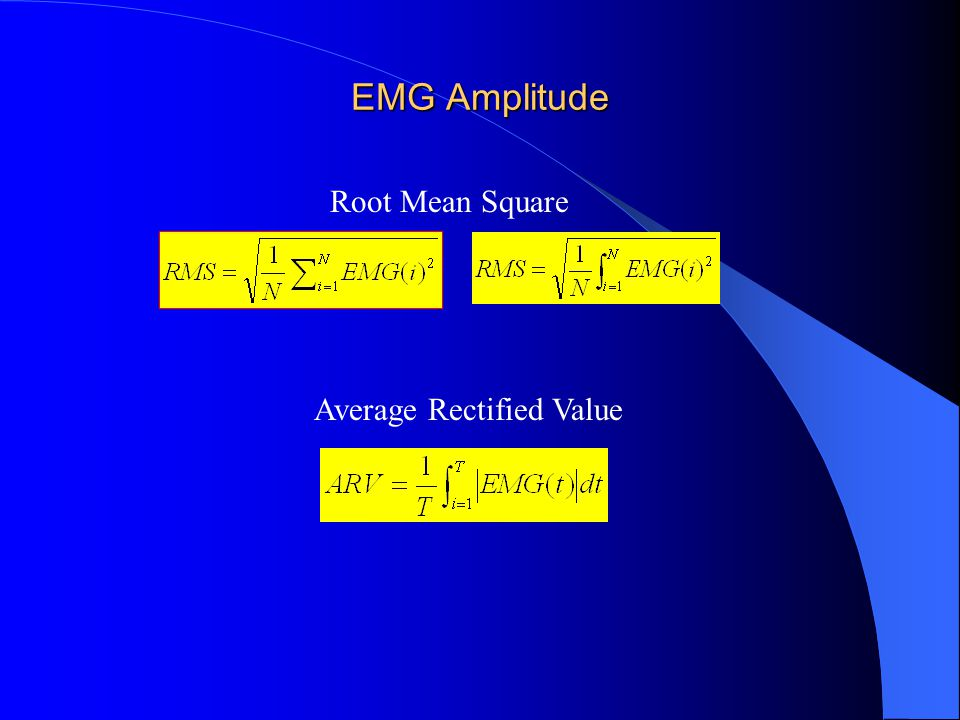 EMG Amplitude Root Mean Square Average Rectified Value