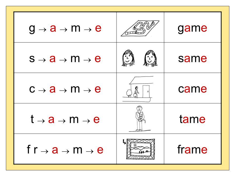 g  a  m  e game s  a  m  e same c  a  m  e came t  a  m  e tame f r  a  m  e frame