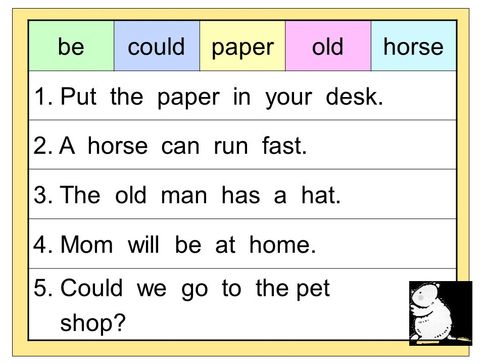 be could. paper. old. horse. 1. Put the paper in your desk. 2. A horse can run fast. 3. The old man has a hat.