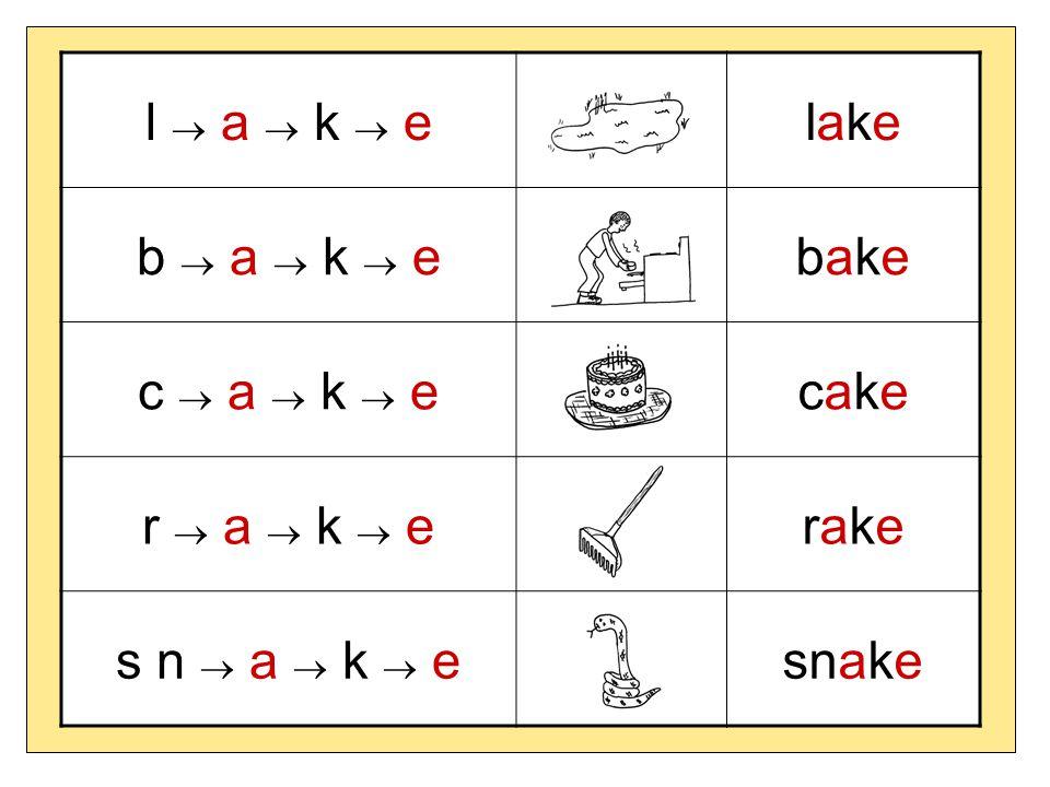 l  a  k  e lake b  a  k  e bake c  a  k  e cake r  a  k  e rake s n  a  k  e snake