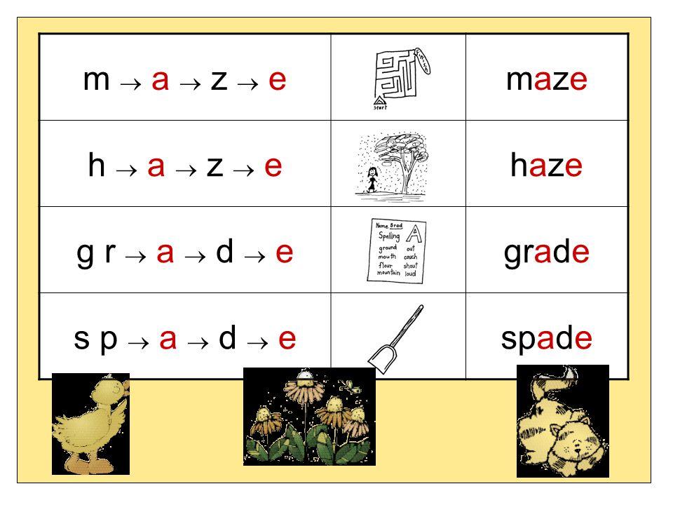 m  a  z  e maze h  a  z  e haze g r  a  d  e grade s p  a  d  e spade