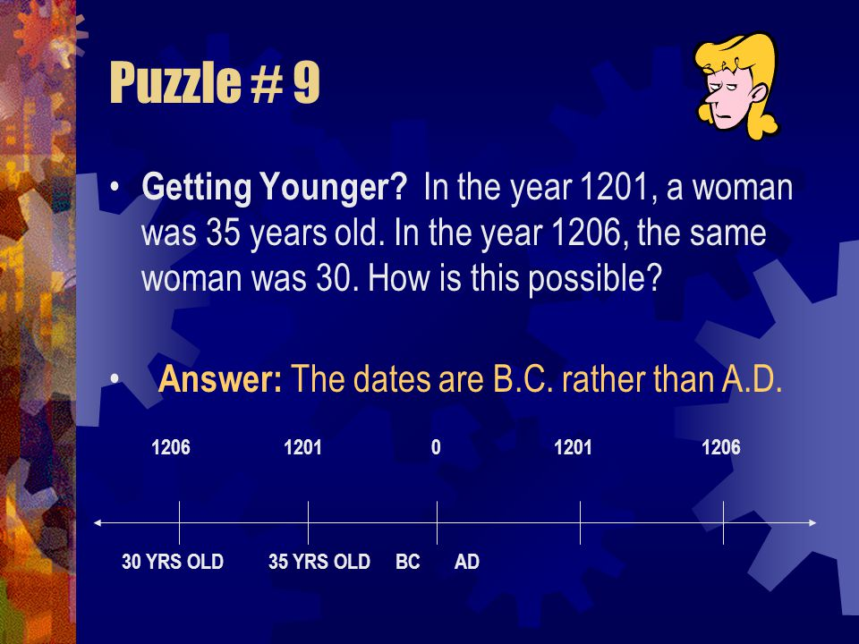 Puzzle # 9 Getting Younger In the year 1201, a woman was 35 years old. In the year 1206, the same woman was 30. How is this possible
