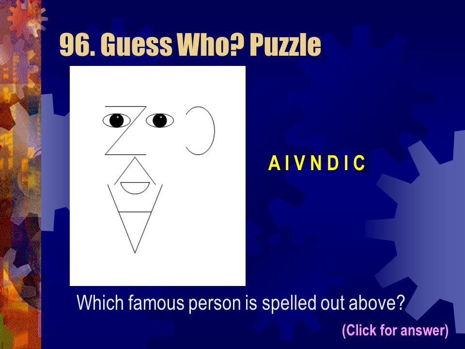 96. Guess Who Puzzle A I V N D I C