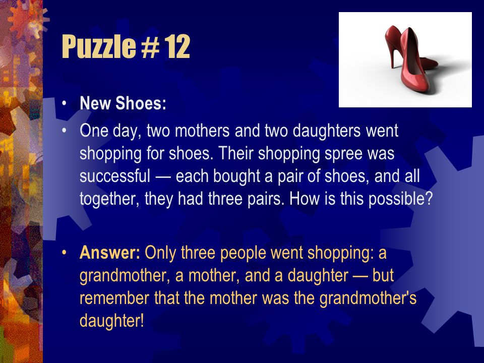 Puzzle # 12 New Shoes: