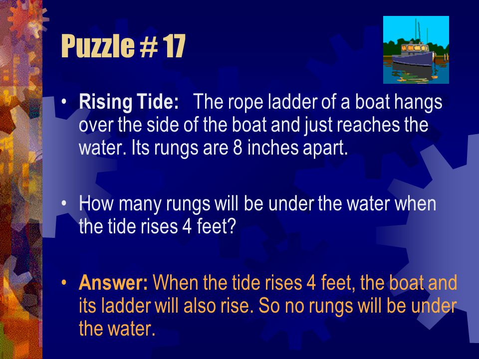 Puzzle # 17 Rising Tide: The rope ladder of a boat hangs over the side of the boat and just reaches the water. Its rungs are 8 inches apart.