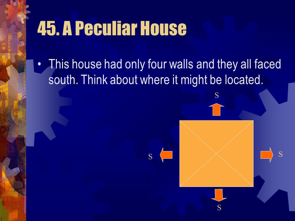 45. A Peculiar House This house had only four walls and they all faced south. Think about where it might be located.