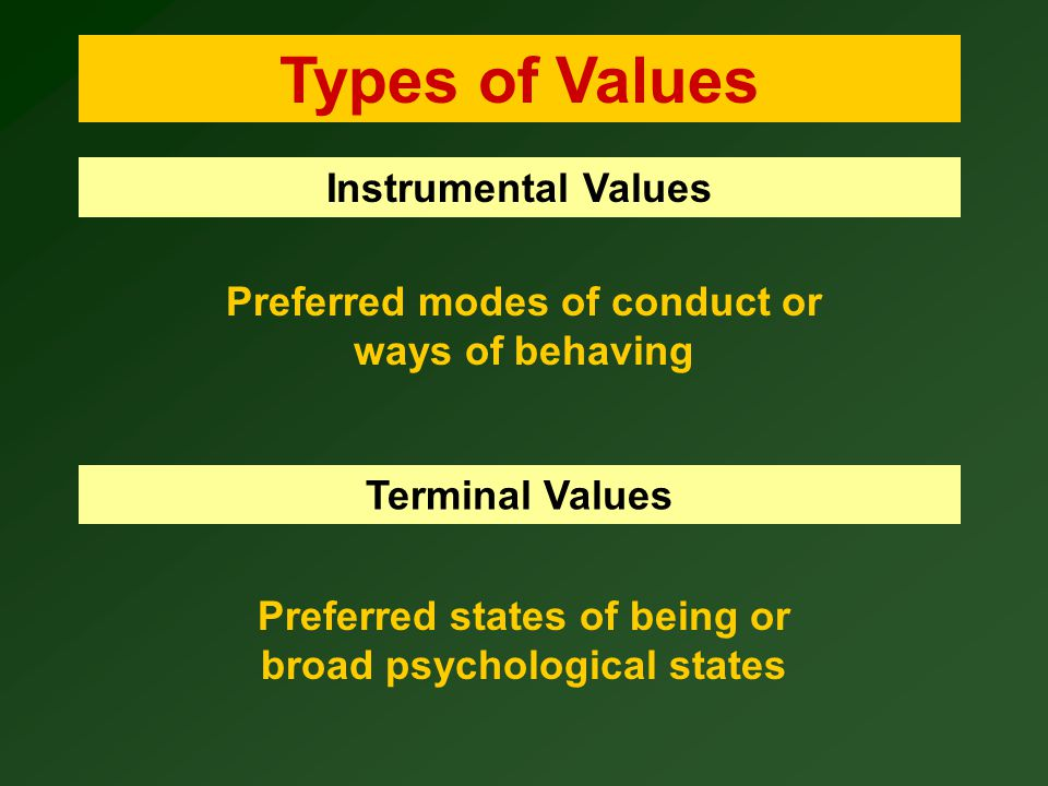Types of Values Instrumental Values