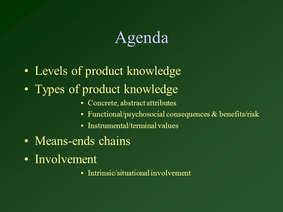 Agenda Levels of product knowledge Types of product knowledge